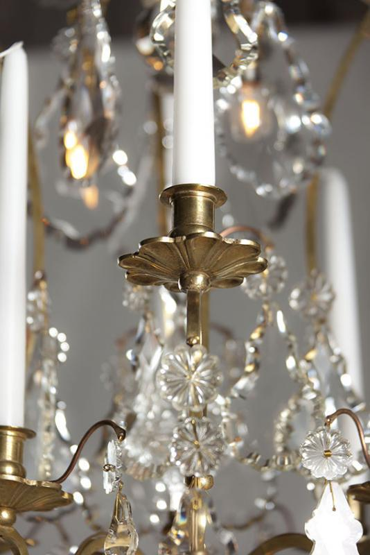 Antique large chandelier with candles and led lights