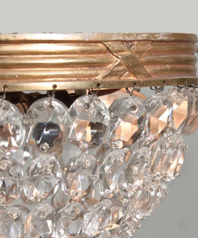 Bronzen vergulde antieke plafonier met kristal uit Frankrijk