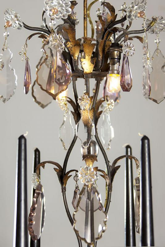 Black wrought iron antique chandelier