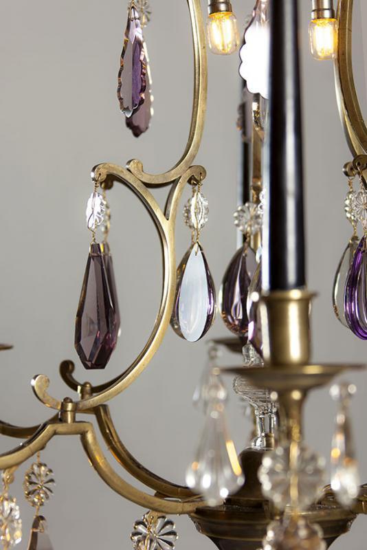 Antieke Franse kaarsen kroonluchter met Led lampjes