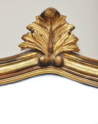 Grote antieke bladgouden spiegel uit Frankrijk