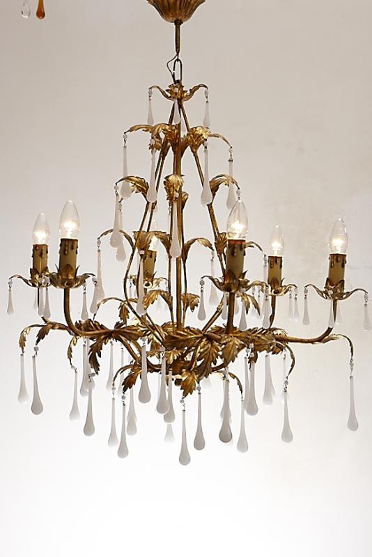 kroonluchter goud witte pegels 6 lichtpunten. Black Bedroom Furniture Sets. Home Design Ideas