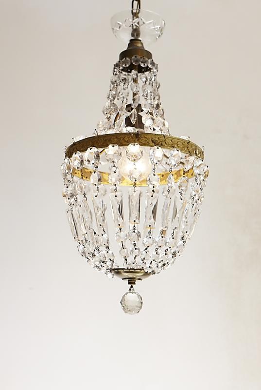 Franse antieke zakluchter, kristallen sac a perles