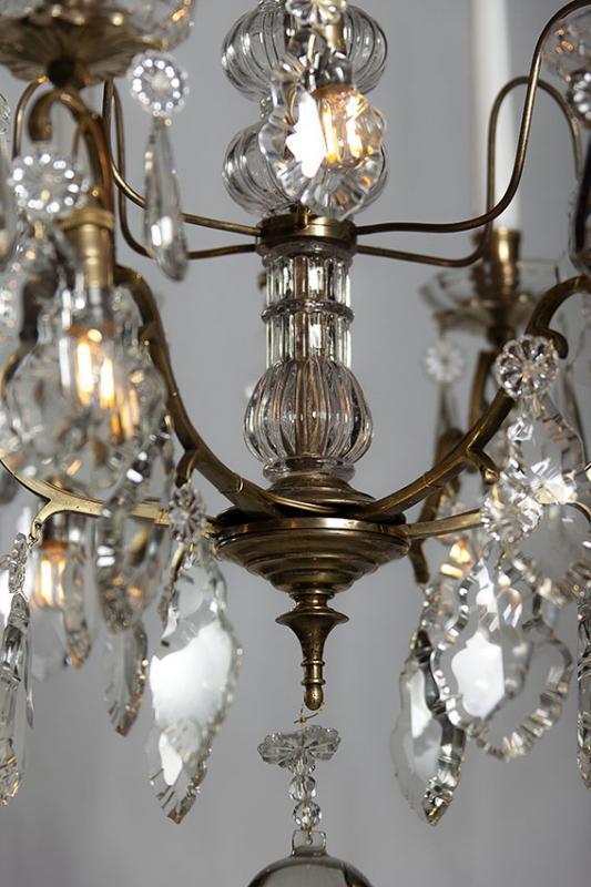 Antieke vergulde kristallen kroonluchter uit Frankrijk