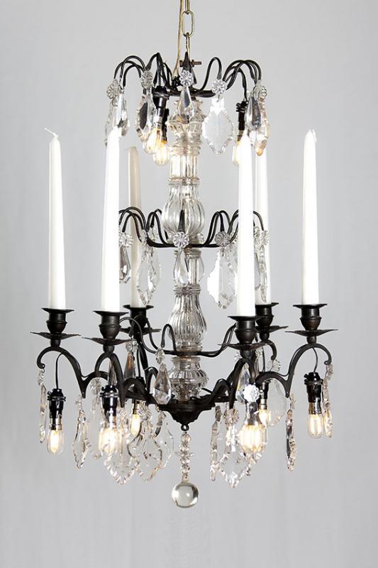 antiker franz sischer kristallener schwarzer kronleuchter. Black Bedroom Furniture Sets. Home Design Ideas
