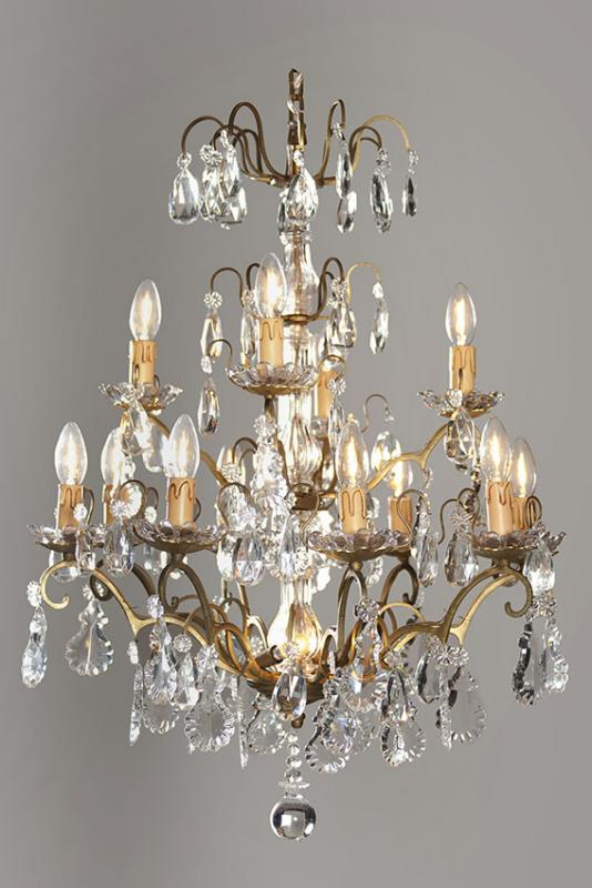 Antique French crystal chandelier with lighting - Antique French Crystal Chandelier With Lighting