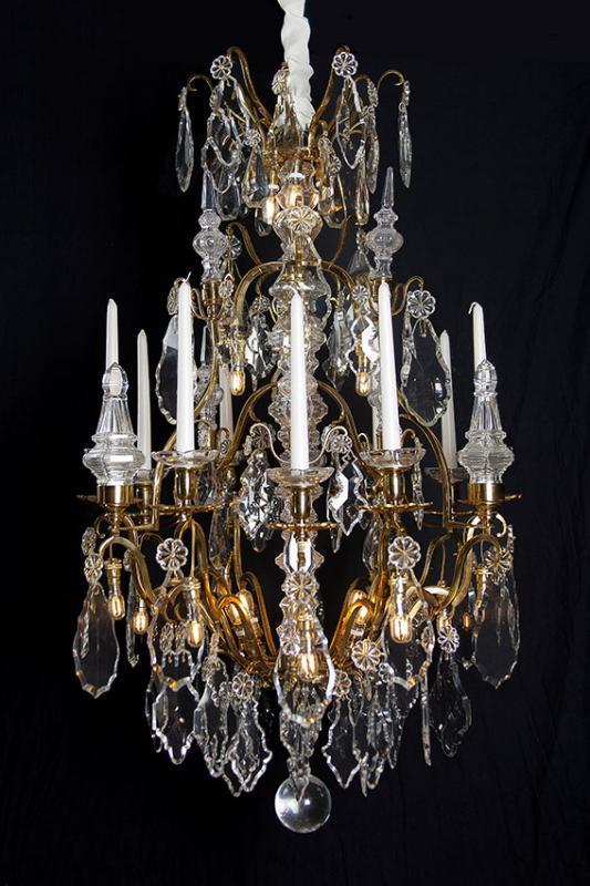 Baccarat large gilded antique crystal chandelier from france baccarat large gilded antique crystal chandelier from france aloadofball Image collections