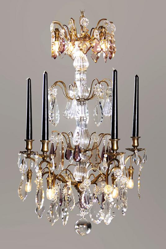 French antique chandelier with purple colored drops