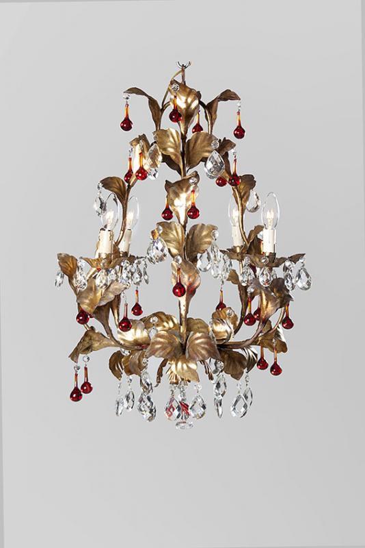 Italiaanse Hollywood regency kroonluchter met rode gekleurde pegels