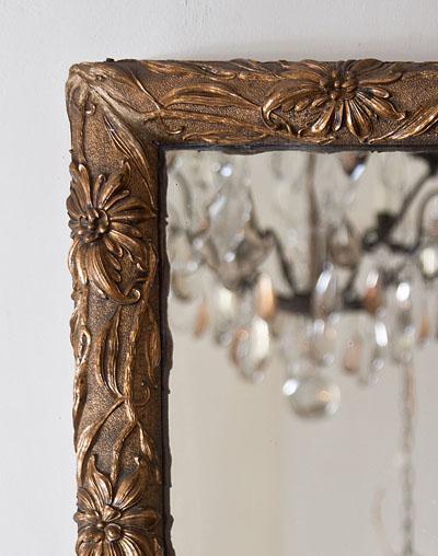 Franse antieke penant spiegel met bladgoud
