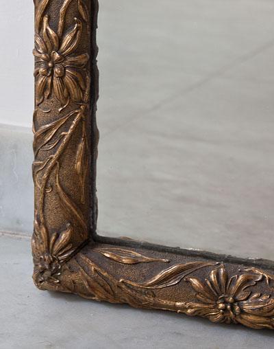 Franse antieke bladgouden art nouveau spiegel