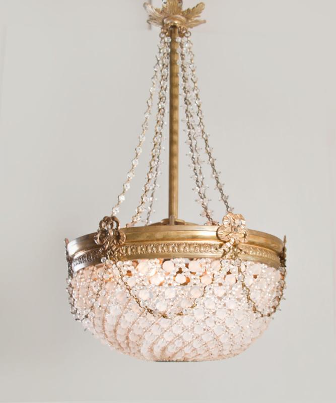 Antieke Franse Louis XVI sac a perles kroonluchter