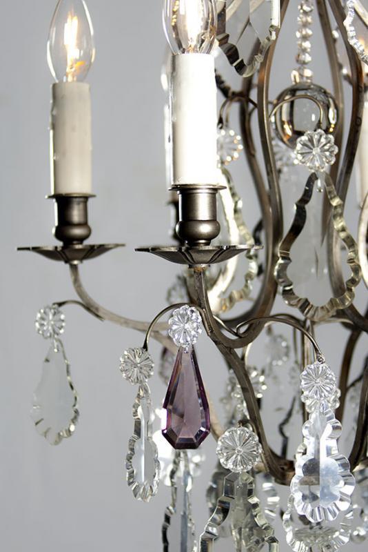 Zilveren antieke kroonluchter uit Frankrijk