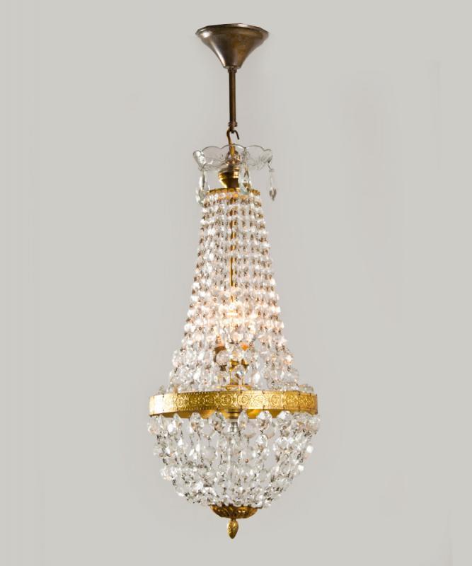Antieke sac a perles met kristal uit Frankrijk