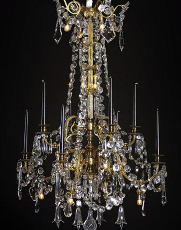 Large Baccarat gilded antique chandelier