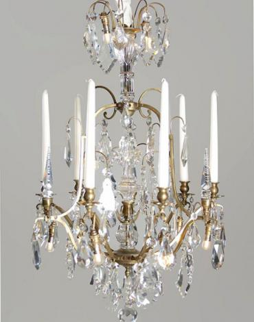 Antique French candle chandelier with lighting