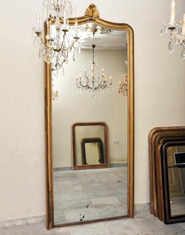 Grote antieke bladgouden Franse spiegel met ornament