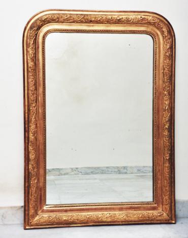 Franse antieke vergulde spiegel