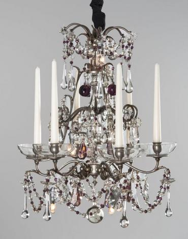 Silver chandelier with purple drops