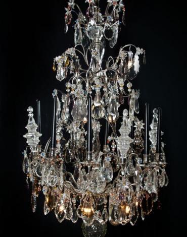 Exclusieve verzilverde grote kristallen lustre a cage uit Frankrijk