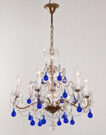 Italiaanse kristallen antieke kroonluchter met kobalt blauwe pegels
