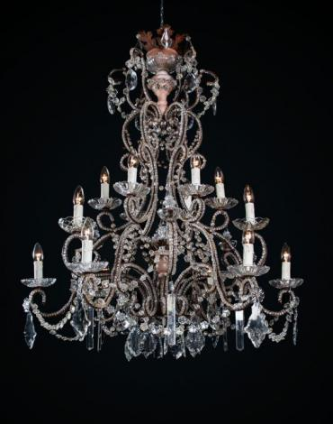 Grote italiaanse kristallen lustre a cage