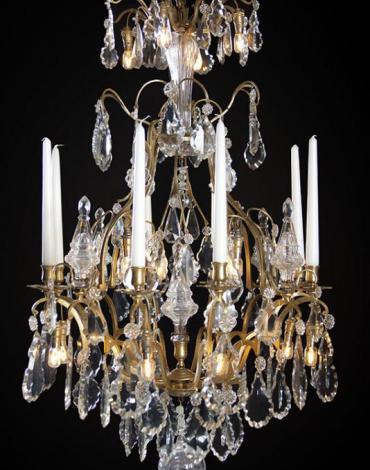 Vergulde kristallen antieke Louis XV kaarsen kroonluchter met Led verlichting