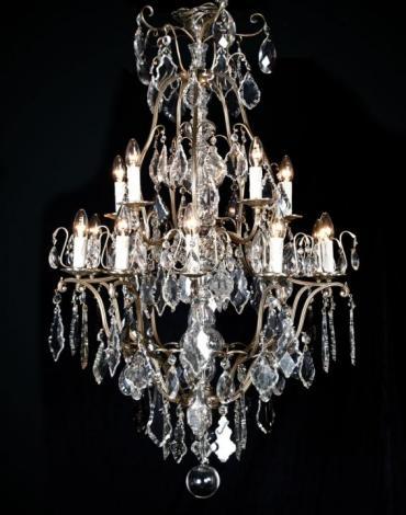 grote zilveren kristallen kroonluchter