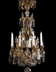 Large French antique gilded crystal cage chandelier
