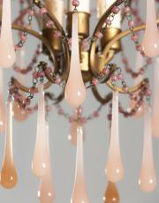 Italiaanse vintage kroonluchter met roze pegels