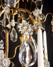 Large antique French crystal cage chandelier