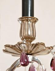 Grote verzilverde antieke Franse lustre a tige met kristal