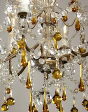 Italian 1930s chandelier with colored droplets