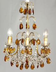Italienischer Kronleuchter with amber Farbige Tropfen