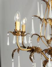 Italian chandelier with milk glass drops