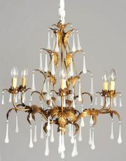 Italian chandelier with milk glass drops
