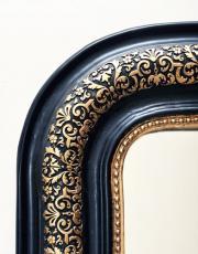 Franse antieke zwarte spiegel