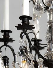 Antieke Franse kristallen zwarte kroonluchter
