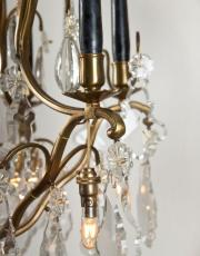 antieke Franse kristallen kaarsen kroonluchter