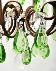 Italiaanse antieke kroonluchter met groene kristallen pegels