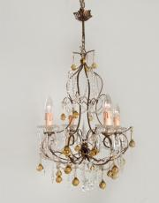 Italian chandelier with yellow drops