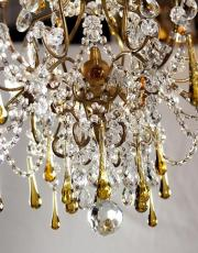 Italian antique chandelier amber colored drops