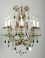 Italian chandelier with green drops