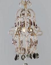 Italian hall lamp lantern chandelier with purple colored drops