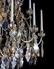 Large antique crystal gilded birdcage chandelier from France