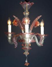 Murano rosa vintage Kronleuchter