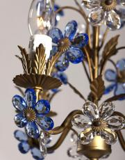 Small Italian chandelier with blue flowers