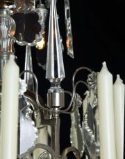 Grote zilveren lustre a cage met kristallen pegels