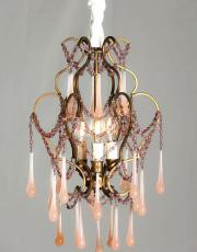 Italian vintage chandelier with pink drops
