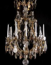 Large antique French crystal birdcage chandelier